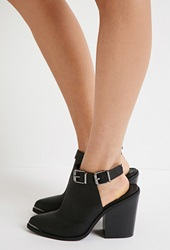 Forever 21 Cutout Faux Leather Booties Black