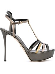 Sergio Rossi High Heel Strappy Sandals Metallic