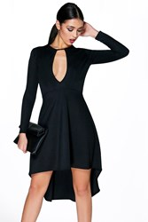 Boohoo Long Sleeve Keyhole Dip Hem Skater Dress Black