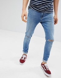 Pier One Slim Fit Jeans In Light Blue With Rips Blue Denim
