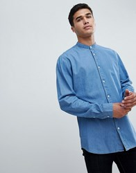 Selected Homme Chambray Shirt With Mandarin Collar In Slim Fit Light Blue