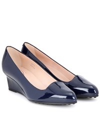Tod's Patent Leather Wedge Pumps Blue