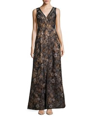 Aidan Aidan Mattox Metallic Floral A Line Dress Brown Multi