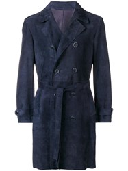 Salvatore Santoro Double Breasted Trench Coat Blue