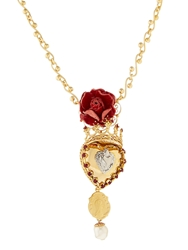 Dolce And Gabbana Sacred Heart And Crown Pendant Necklace