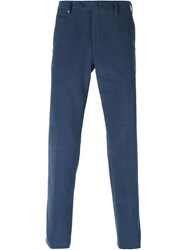 Corneliani Back Zip Pocket Trousers Blue