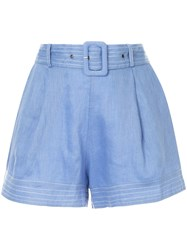 Suboo Belted Waist Shorts Blue