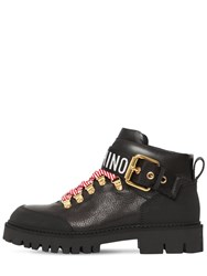 Moschino 40Mm Leather Ankle Trekking Boots Black