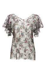 Luisa Beccaria Short Sleeve Sheer Embroidered Blouse Floral