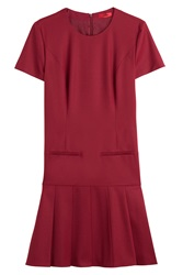 Hugo Wool Drop Waist Dress Red