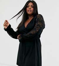 Pink Clove Wrap Front Dress With Tie Waist And Contrast Lace In Black