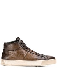 Santoni Croc Effect Sneakers Brown