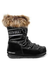 Moon Boot Monaco Faux Fur Trimmed Shell And Faux Leather Snow Boots Black