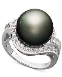 Macy's 14K White Gold Ring Cultured Tahitian Pearl 12Mm And Diamond 5 8 Ct. T.W. Ring Gray