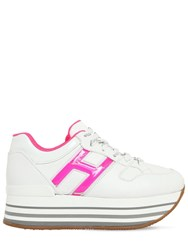 Hogan 70Mm Maxi 222 Gel And Leather Sneakers White Fuchsia