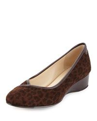 Taryn Rose Felicity Leopard Print Suede Low Heel Wedge Dark Brown