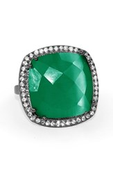 Susan Hanover Women's Designs Semiprecious Stone Ring Emerald Green Gunmetal