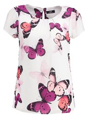 Wallis Butterfly Print Tshirt Ivory White