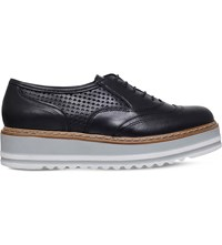 Carvela Lasting Leather Flatform Oxford Shoes Black