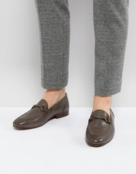 Hudson H By Renzo Leather Loafers In Grey
