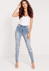 Missguided High Waisted Seamed Ripped Skinny Jeans Blue