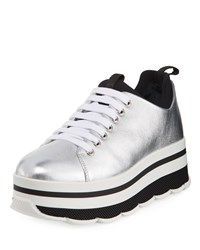 Prada Linea Rossa Leather Lace Up Platform Sneakers Gray