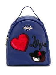 Love Moschino Logo Patch Backpack Blue