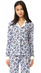 Cosabella Paul And Joe X Isabelle Printed Long Sleeve Pj Top Floral Cat Lily White