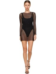 Faith Connexion Mesh Mini Dress Black