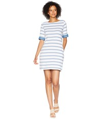 Tribal Boat Neck Knee Length Dress With Chambray Trim Blue Haze