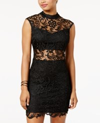 B. Darlin B Juniors' Mock Neck Illusion Lace Bodycon Dress Black Gold