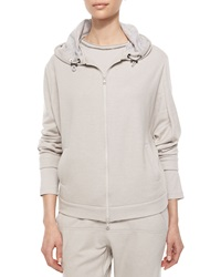Brunello Cucinelli Cashmere Hooded Zip Sweatshirt Dove