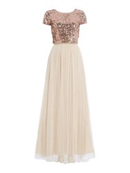 Adrianna Papell Sequin Top And Tulle Maxi Skirt Rose Gold