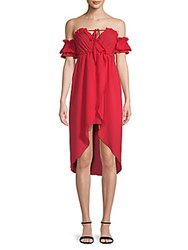 Haute Rogue Sue Off The Shoulder Dress Red