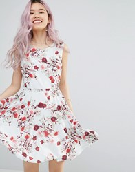 Yumi Belted Skater Dress In Romantic Floral Print White