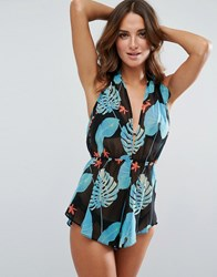 Asos Beach Playsuit In Tropical Palm Print Tropical Floral Multi