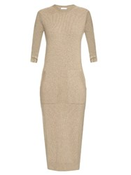 Barrie Focus And Blur Cashmere Midi Dress Beige
