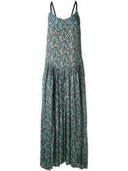 Twin Set Floral Print Maxi Dress Women Silk Polyester Viscose 46