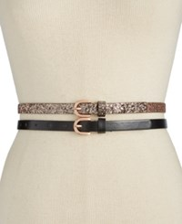 Inc International Concepts Glitter 2 For 1 Skinny Belts Only At Macy's Rose Gold
