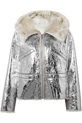 Yves Salomon Shearling Lined Metallic Crinkled Leather Hooded Jacket Silver