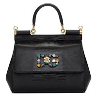 Dolce And Gabbana Black Iguana Small Miss Sicily Bag
