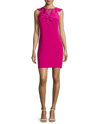 Rebecca Taylor Sleeveless Ruffed Front Cocktail Dress Size 6 Pink Cobalt