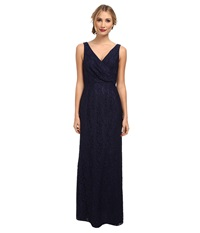 Donna Morgan Lark V Neck Lace Gown Indigo Women's Dress Blue