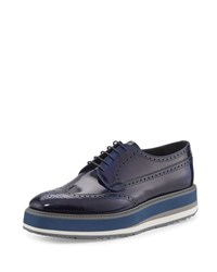 Prada Leather Platform Brogue Creeper Blue