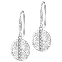Dower And Hall Lumiere Sterling Silver Round Sapphire Drop Earrings Silver White