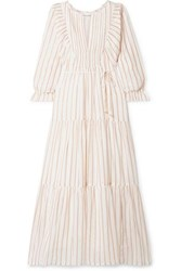 Apiece Apart Francesca Tiered Striped Cotton And Lurex Blend Voile Midi Dress Ivory