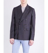 Paul Smith Double Check Kensington Fit Extra Fine Wool Jacket Blue