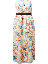 Si Jay Floral Print Strapless Dress Women Polyester 44