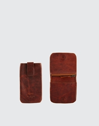 Selected Anton Leather Coin Wallet And Phone Case Gift Set Brown