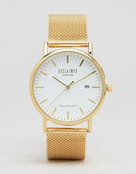 Reclaimed Vintage Mesh Strap Watch In Gold Gold